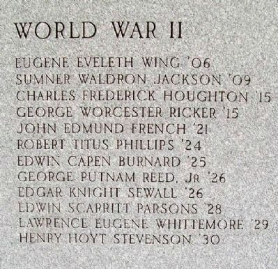 Bowdoin College World War II Honored Dead image. Click for full size.