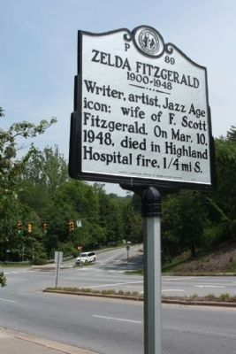 Zelda Fitzgerald Marker near the WT Weaver Blvd intersection image. Click for full size.