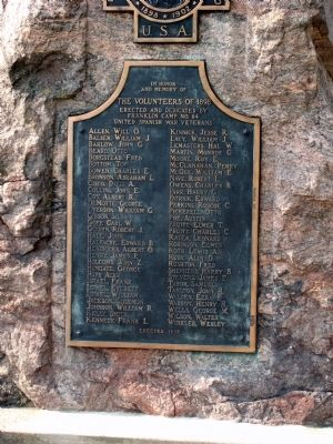 Plaque 'Two' - - Johnson County Spanish American War Honor Roll Marker image. Click for full size.
