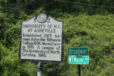 The University of North Carolina at Asheville Marker image. Click for full size.