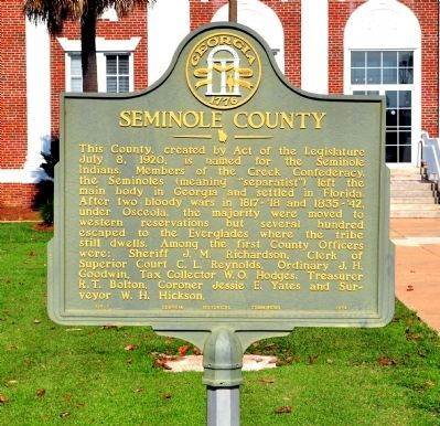 Seminole County Marker image. Click for full size.