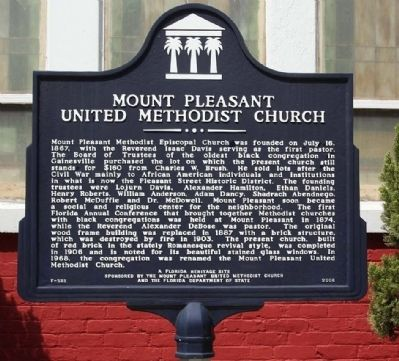 Mount Pleasant United Methodist Church Marker image. Click for full size.