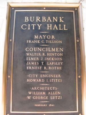 Burbank City Hall Markers at the Entrance on Both Sides. image. Click for full size.