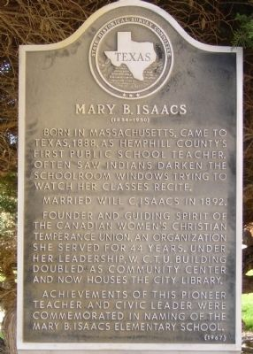 Mary B. Isaacs Marker image. Click for full size.