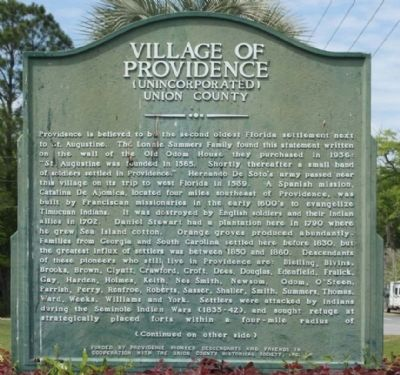 Village Of Providence Marker image. Click for full size.