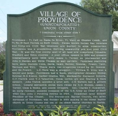 Village Of Providence Marker, reverse side image. Click for full size.