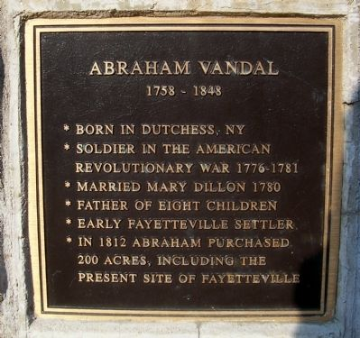 Abraham Vandal Marker (Plaque One) image. Click for full size.