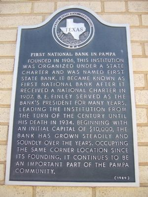 First National Bank in Pampa Marker image. Click for full size.