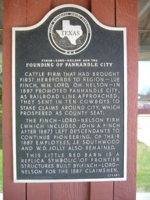 Finch-Lord-Nelson and the Founding of Panhandle City Marker image. Click for full size.