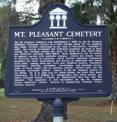 Mt. Pleasant Cemetery Marker image. Click for full size.