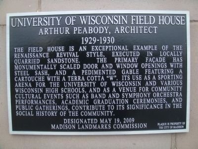 University of Wisconsin Field House Marker image. Click for full size.