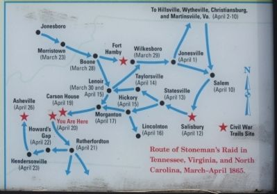 Map included: Route of Stoneman's Raid image. Click for full size.