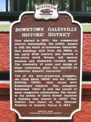 Downtown Galesville Historic District Marker image. Click for full size.