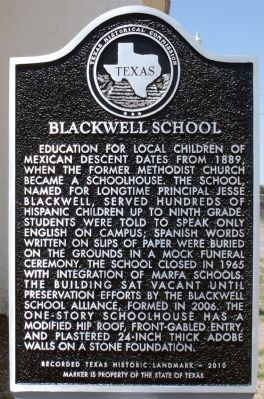 Blackwell School Marker image. Click for full size.