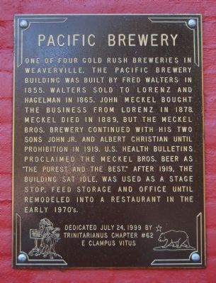Pacific Brewery Marker Photo, Click for full size