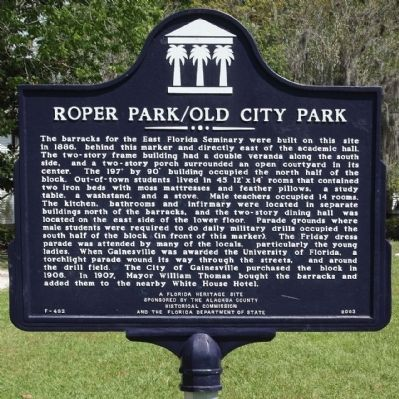 Roper Park / Old City Park Marker, reverse side Photo, Click for full size
