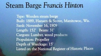 Steam Barge Francis Hinton Marker image. Click for full size.