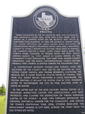 Friona Marker image. Click for full size.