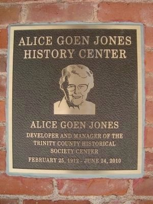 Alice Goen Jones History Center Plaque image. Click for full size.