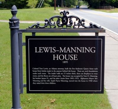Lewis-Manning House Marker image. Click for full size.