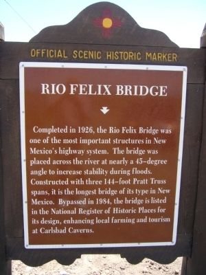 Rio Felix Bridge Marker image. Click for full size.