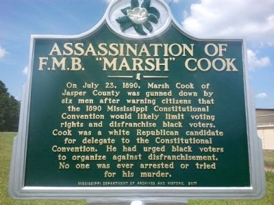 "Assassination of F.M.B. ""Marsh"" Cook Marker image. Click for full size."