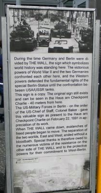 Checkpoint Charlie Site Marker Panel 1 image. Click for full size.