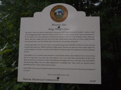 King Philip's Cave Marker image. Click for full size.