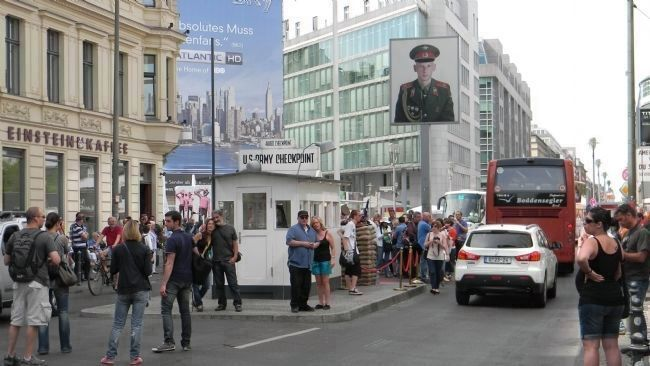 Checkpoint Charlie Site - view north toward Zimmerstra�e image. Click for full size.