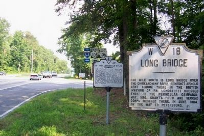 Letitia Christian Tyler Marker behind the Long Bridge Marker. image. Click for full size.