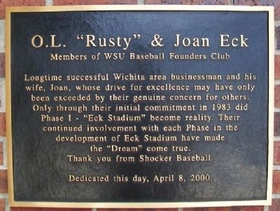 "O.L. ""Rusty"" & Joan Eck Marker image. Click for full size."