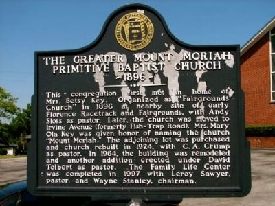 The Greater Mount Moriah Primitive Baptist Church image. Click for full size.