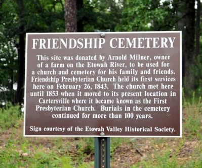 Friendship Cemetery Marker Photo, Click for full size