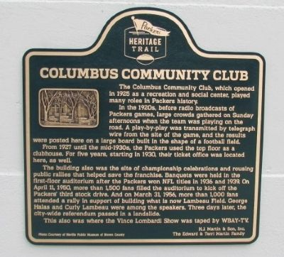 Columbus Community Club Marker image. Click for full size.