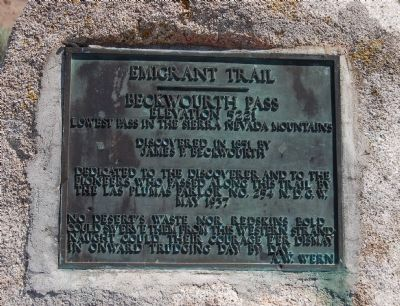 Beckwourth Pass Marker Photo, Click for full size