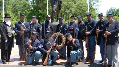 USCT Re-enactors at the United States Colored Troops Civil War Memorial dedication image. Click for full size.