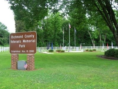Richmond County Veteran's Memorial Park Entrance Photo, Click for full size