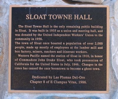 Sloat Towne Hall Marker Photo, Click for full size