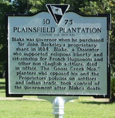 Plainsfield Plantation Marker, reverse side Photo, Click for full size