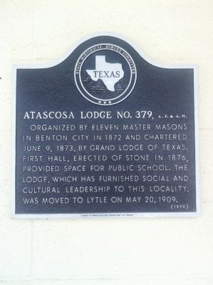 Atascosa Lodge No. 379, A.F. and A.M. Marker image. Click for full size.