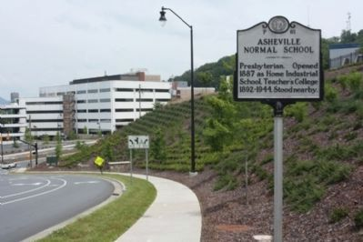 Asheville Normal School Marker, looking north on Victoria Road image. Click for full size.