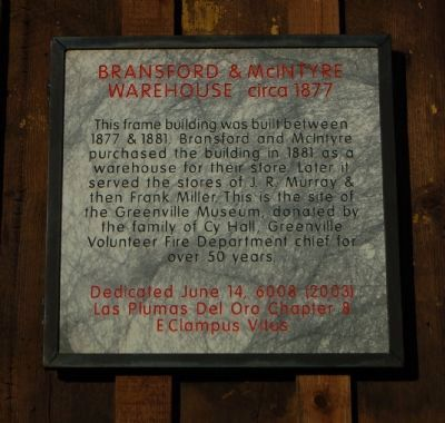 Bransford & McIntyre Warehouse Marker image. Click for full size.
