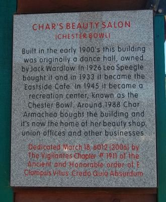 Char's Beauty Salon Marker image. Click for full size.