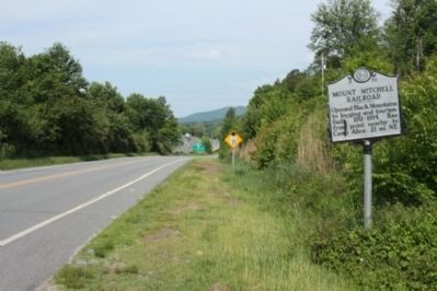 Mount Mitchell Railroad Marker, looking west along Old U.S. 70 image. Click for full size.