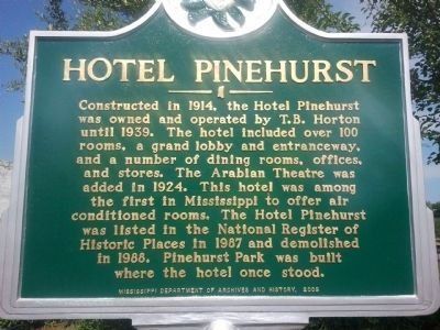 Hotel Pinehurst Marker Photo, Click for full size