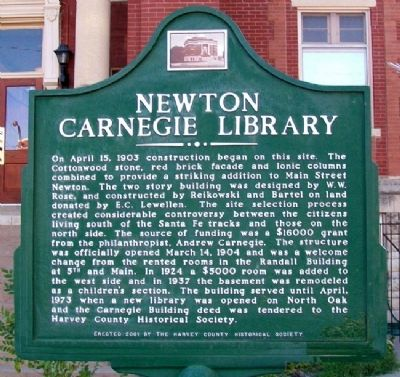Newton Carnegie Library Marker Photo, Click for full size
