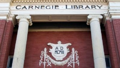 Newton Carnegie Library Entrance Detail Photo, Click for full size