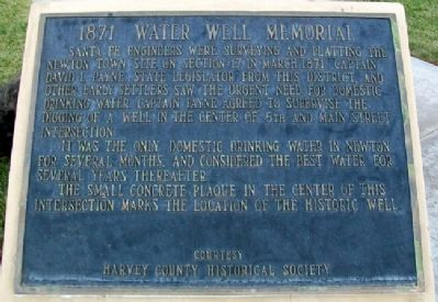 1871 Water Well Memorial Marker Photo, Click for full size