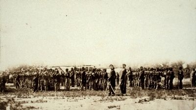 Part of 1st U.S.C.T., Pvt. John Gordon's regiment, in formation. image. Click for full size.