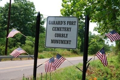 Garard's Fort Cemetery and Corbly Monument sign image. Click for full size.